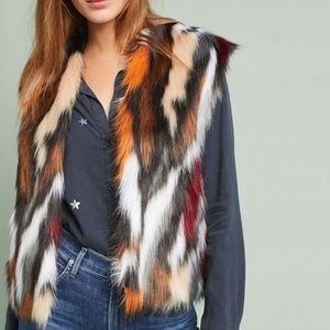 Anthropologie Vivid Faux Fur Vest by Rosie Neira